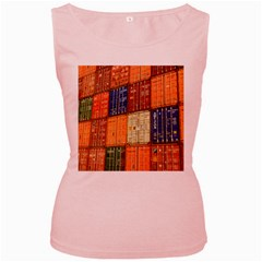 Blue White Orange And Brown Container Van Women s Pink Tank Top