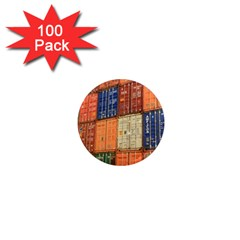 Blue White Orange And Brown Container Van 1  Mini Magnets (100 Pack)