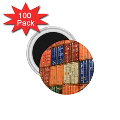 Blue White Orange And Brown Container Van 1.75  Magnets (100 pack)