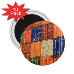 Blue White Orange And Brown Container Van 2 25  Magnets (10 Pack)