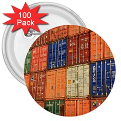 Blue White Orange And Brown Container Van 3  Buttons (100 pack)