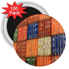 Blue White Orange And Brown Container Van 3  Magnets (100 Pack)