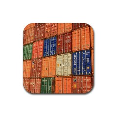 Blue White Orange And Brown Container Van Rubber Coaster (square)