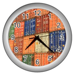 Blue White Orange And Brown Container Van Wall Clocks (silver)