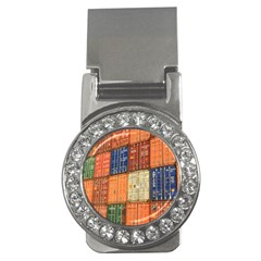 Blue White Orange And Brown Container Van Money Clips (cz)
