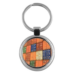 Blue White Orange And Brown Container Van Key Chains (round)