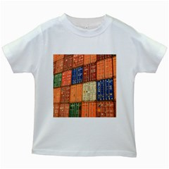 Blue White Orange And Brown Container Van Kids White T Shirts