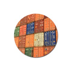 Blue White Orange And Brown Container Van Magnet 3  (round)