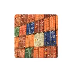 Blue White Orange And Brown Container Van Square Magnet