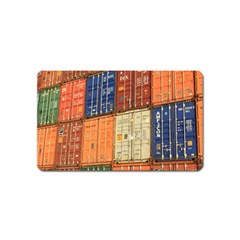 Blue White Orange And Brown Container Van Magnet (name Card)