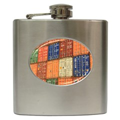 Blue White Orange And Brown Container Van Hip Flask (6 oz)