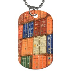 Blue White Orange And Brown Container Van Dog Tag (two Sides)