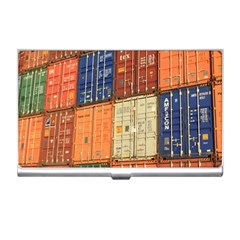 Blue White Orange And Brown Container Van Business Card Holders