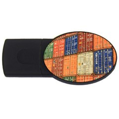 Blue White Orange And Brown Container Van Usb Flash Drive Oval (2 Gb)