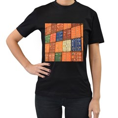 Blue White Orange And Brown Container Van Women s T Shirt (black) (two Sided)