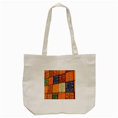 Blue White Orange And Brown Container Van Tote Bag (cream)