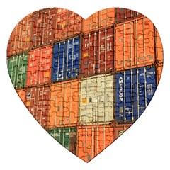 Blue White Orange And Brown Container Van Jigsaw Puzzle (heart)