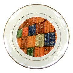 Blue White Orange And Brown Container Van Porcelain Plates