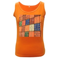Blue White Orange And Brown Container Van Women s Dark Tank Top