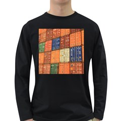 Blue White Orange And Brown Container Van Long Sleeve Dark T-Shirts