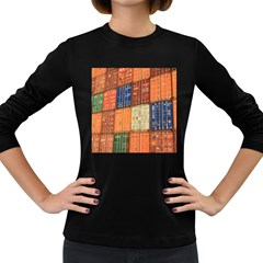 Blue White Orange And Brown Container Van Women s Long Sleeve Dark T Shirts