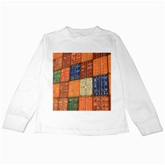 Blue White Orange And Brown Container Van Kids Long Sleeve T Shirts