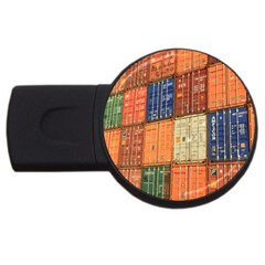 Blue White Orange And Brown Container Van Usb Flash Drive Round (4 Gb)