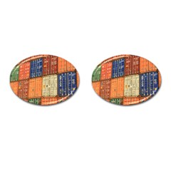 Blue White Orange And Brown Container Van Cufflinks (oval)