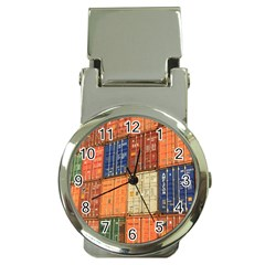 Blue White Orange And Brown Container Van Money Clip Watches