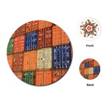 Blue White Orange And Brown Container Van Playing Cards (Round)  Front