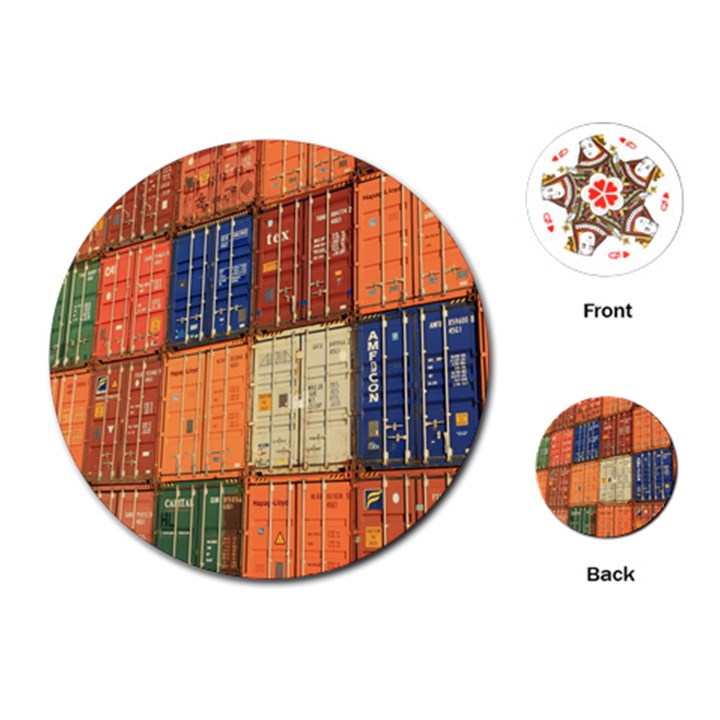 Blue White Orange And Brown Container Van Playing Cards (Round)