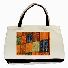 Blue White Orange And Brown Container Van Basic Tote Bag