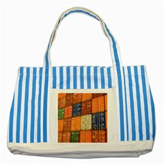 Blue White Orange And Brown Container Van Striped Blue Tote Bag