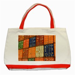 Blue White Orange And Brown Container Van Classic Tote Bag (red)