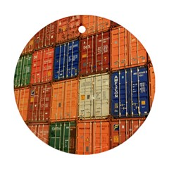 Blue White Orange And Brown Container Van Round Ornament (two Sides)