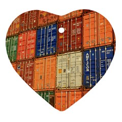 Blue White Orange And Brown Container Van Heart Ornament (2 Sides)