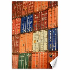 Blue White Orange And Brown Container Van Canvas 12  X 18