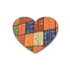 Blue White Orange And Brown Container Van Heart Coaster (4 Pack)