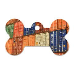 Blue White Orange And Brown Container Van Dog Tag Bone (one Side)