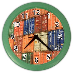 Blue White Orange And Brown Container Van Color Wall Clocks