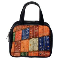 Blue White Orange And Brown Container Van Classic Handbags (one Side)