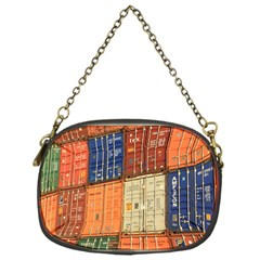 Blue White Orange And Brown Container Van Chain Purses (one Side)