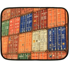 Blue White Orange And Brown Container Van Fleece Blanket (mini)