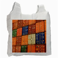 Blue White Orange And Brown Container Van Recycle Bag (one Side)