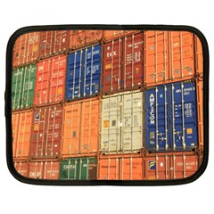 Blue White Orange And Brown Container Van Netbook Case (xl)
