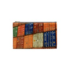 Blue White Orange And Brown Container Van Cosmetic Bag (small)