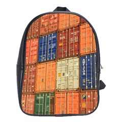 Blue White Orange And Brown Container Van School Bags(large)