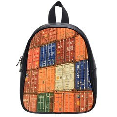 Blue White Orange And Brown Container Van School Bags (small)