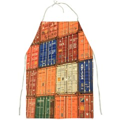 Blue White Orange And Brown Container Van Full Print Aprons
