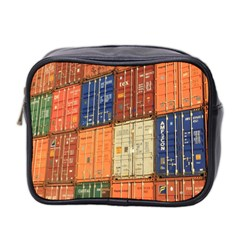 Blue White Orange And Brown Container Van Mini Toiletries Bag 2 Side
